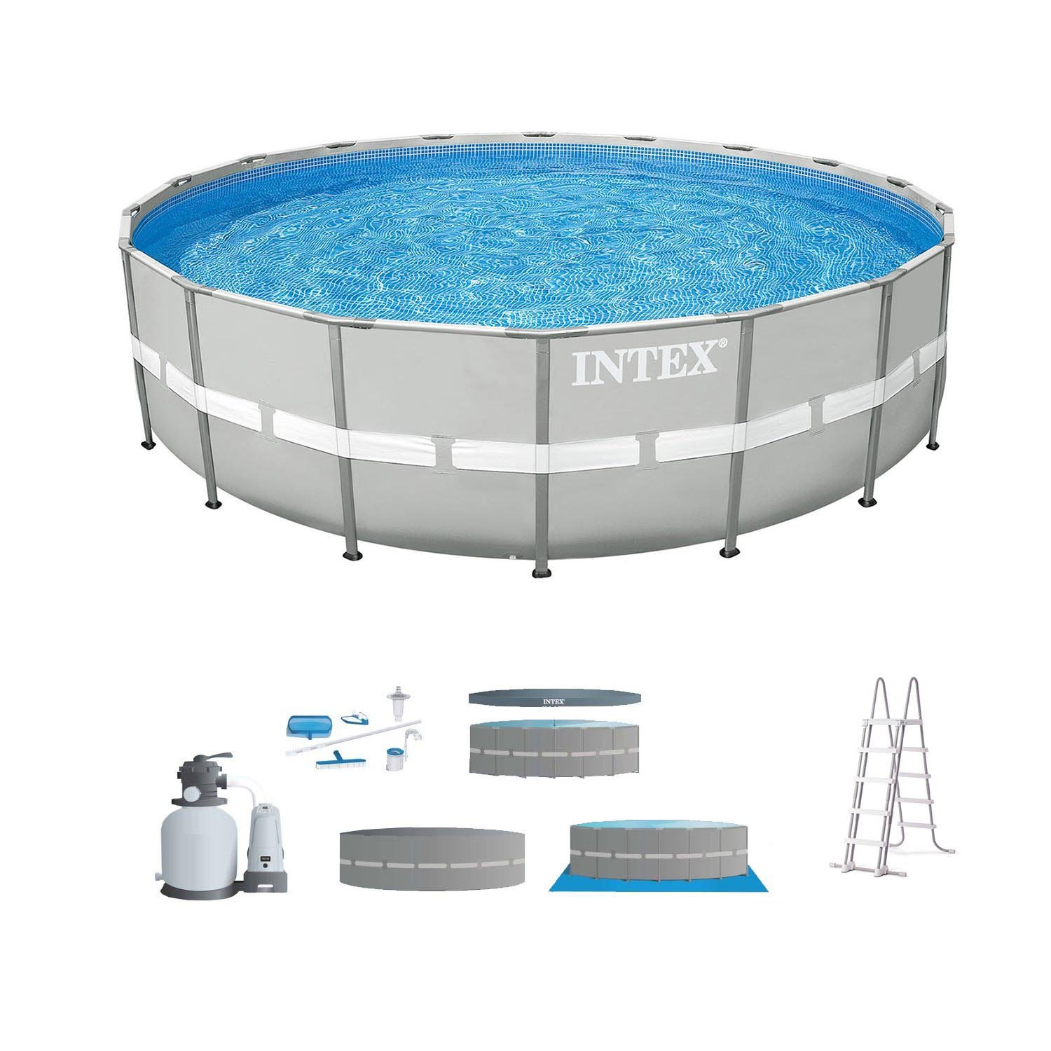 Intex 24 39 x 52 steel ultra frame round above ground swimming pool set with pump pool chemical for Intex above ground swimming pool